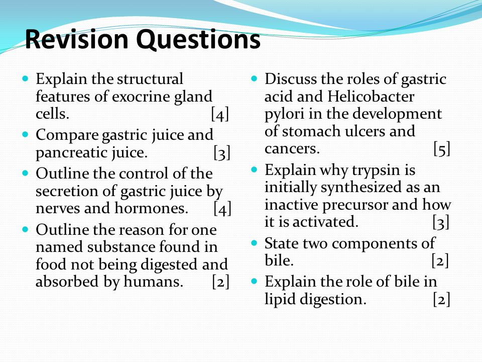 Revision Questions Explain the structural features of exocrine gland cells. [4]